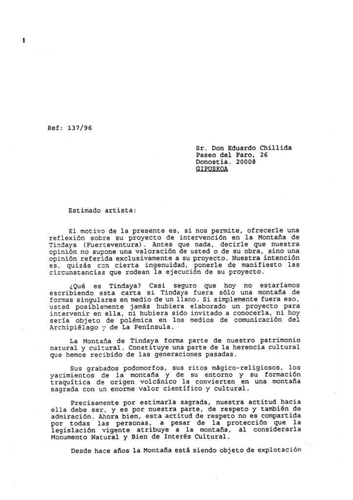 thumbnail of 1996-CARTA A E. CHILLIDA